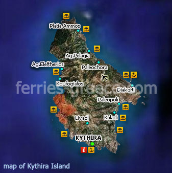 Ferries to Kythira Kythira Travel Guide Map