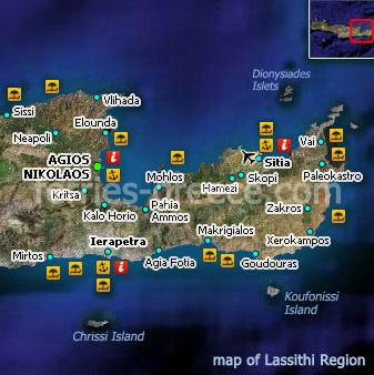 Map of Lasithi Crete Greek Islands Greece