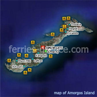 Islands Of Greece Map.Ferries To Amorgos Amorgos Travel Guide Map