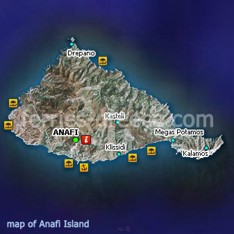 Map of Anafi Island Cyclades Greek Islands Greece