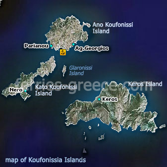 Map of Koufonisia Island Cyclades Greek Islands Greece
