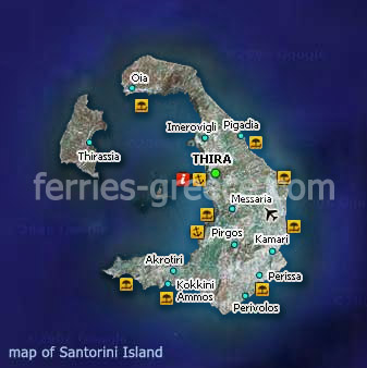 Map of Santorini Island Cyclades Greece
