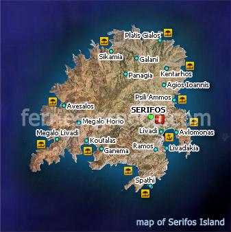 Map of Serifos Island Cyclades Greece