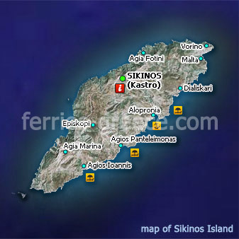 Map of Sikinos Island Cyclades Greece