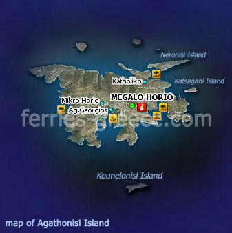 Map of Agathonisi Dodecanese Greek Islands Greece
