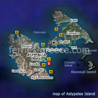 Map of Astypalea Island Dodecanese Greece