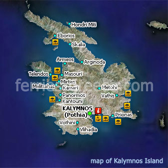 Ferries to Kalymnos Kalymnos Travel Guide Map