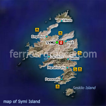 Map of Symi Island Dodecanese Greece
