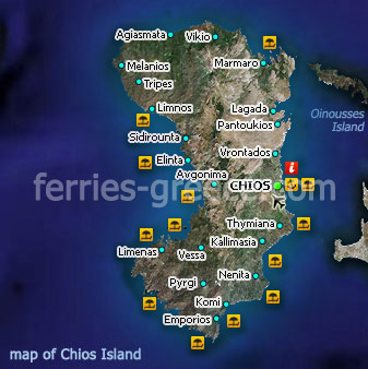 Ferries to Chios Chios Travel Guide Map