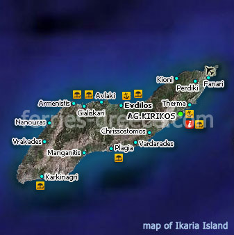 Map of Ikaria Island East Aegean Greece