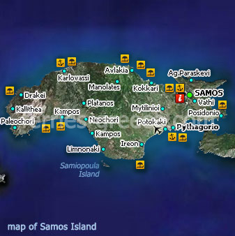 Ferries to Samos Samos Travel Guide Map