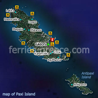 Map of Paxi Island Ionian Greece