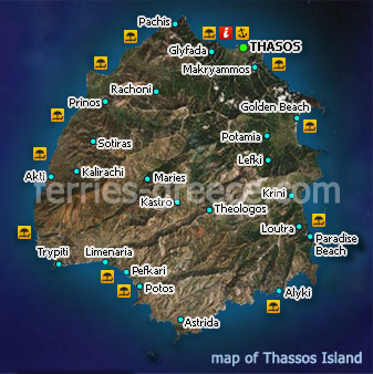 Ferries to Thassos Thassos Travel Guide Map