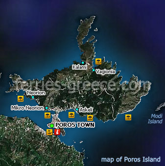 Poros Greece Map.Ferries To Poros Poros Travel Guide Map