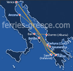 Ferries from Italy to Greece and vv.