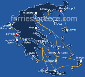 Ferries from Greece to the Greek islands and vv.